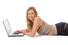 Girl working on a laptop Royalty Free Stock Photo