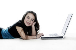 Girl working on the laptop Stock Image