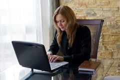 Girl working on laptop. Royalty Free Stock Photos