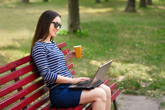 Girl working on laptop in park Stock Photos