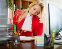 Girl working at office Stock Photography