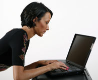 Girl Working On Laptop Royalty Free Stock Image