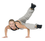 Girl is working out. Isolated on white Royalty Free Stock Photography