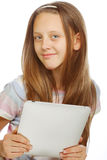 Girl working with  portable tablet computer Stock Photo
