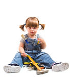 Girl with working tool Royalty Free Stock Photography