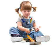 Girl with working tool Royalty Free Stock Photo