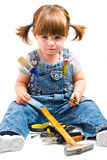 Girl with working tool Stock Image