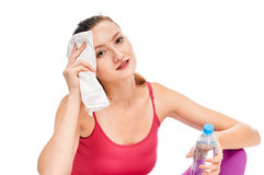Girl After workout. sweating Royalty Free Stock Photo