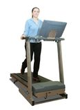 Girl workout on treadmill Stock Images