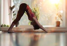 Girl workout yoga Stock Image