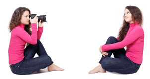 Girl works as a photographer isolated Stock Photo