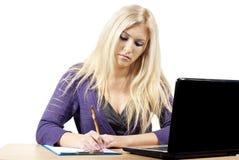 Girl works at a computer Stock Photos