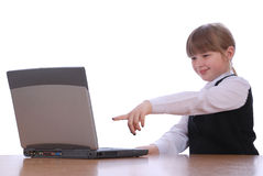 The girl works for laptop Royalty Free Stock Images