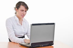 Girl works on laptop Stock Image