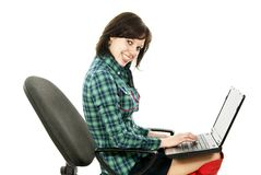 Girl works for a laptop isolated Royalty Free Stock Photos