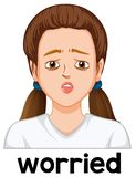 A girl with worried facial expression. Illustration stock illustration