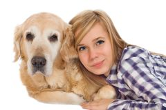 Girl woth pet dog. Young girl with pet dog isolated on white Royalty Free Stock Photography