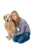 Girl woth pet dog. Young girl with pet dog isolated on white Royalty Free Stock Image