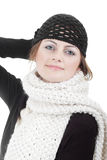 Girl in woven hat and knitted scarf Royalty Free Stock Photos
