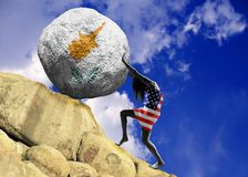 The girl, wrapped in the flag of United States of America, raises a stone to the top in the form of a silhouette of the flag of vector illustration