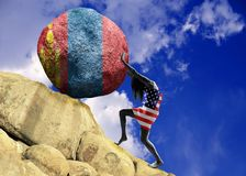 The girl, wrapped in the flag of the United States of America, raises a stone to the top in the form of the silhouette of the flag royalty free illustration