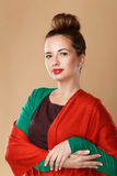 Girl wrapped in a shawl. Royalty Free Stock Photo