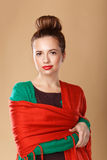 Girl wrapped in a shawl. Royalty Free Stock Photography