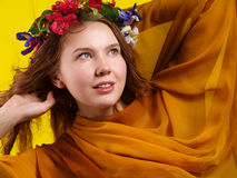 Girl wrapped in tissue Royalty Free Stock Images