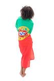 Girl wrapped up in portugal flag. On white background Royalty Free Stock Image