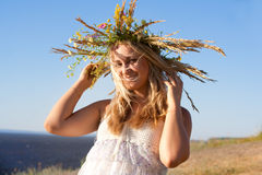 The girl in a wreath Royalty Free Stock Images