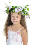 Girl with a wreath. Isolated on white background royalty free stock photos