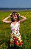 Girl in wreath Stock Photo