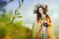The girl in the wreath Royalty Free Stock Images