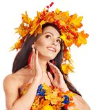 Girl with a wreath of autumn leaves on the head. Royalty Free Stock Photos