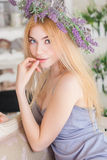 Girl in a wreath Royalty Free Stock Photo