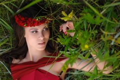 Girl with a wreath Stock Photo