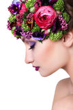 Girl in a wreath of flowers Royalty Free Stock Photos