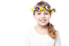 Girl with wreath on head Royalty Free Stock Images