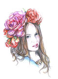Girl with a wreath on her head. Illustration girl with a wreath on her head, made color pencils . on white background Stock Image