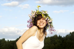 Girl with a wreath on his head Royalty Free Stock Photo