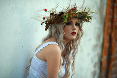 The girl with the wreath on his head Royalty Free Stock Photo