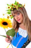 Girl with a wreath on his head. Royalty Free Stock Images