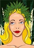 Girl with wreath of marijuana leafs. Dark background Royalty Free Stock Photo