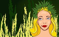 Girl with wreath of marijuana leafs. Dark background Stock Images