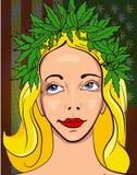 Girl with wreath of marijuana leafs.Usa flag with cannabis leafs background Stock Photos