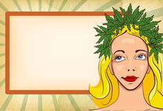 Girl with wreath of marijuana leafs. Vintage background Royalty Free Stock Image