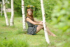 Girl in a wreath Royalty Free Stock Photography