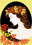 A girl in a wreath of ornamental flowers. A girl in a wreath of flowers with decorative elements khokhloma painting Stock Photos