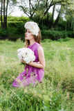 Girl with a wreath of peonies on her head Royalty Free Stock Photography