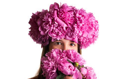 Girl with wreath of pink flowers on isolated white background Stock Photography